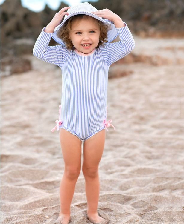 RuffleButts Little Girls High Neck One Piece UPF 50 Sun Protective Ruffled Swimsuit
