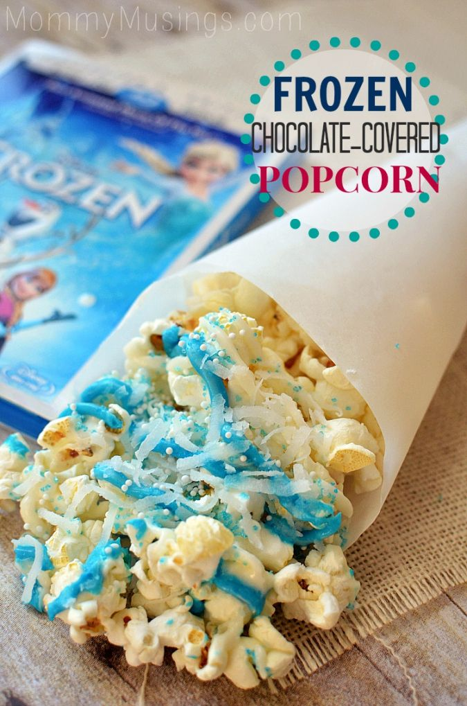Frozen-themed Chocolate-covered popcorn treat #DisneyFrozen