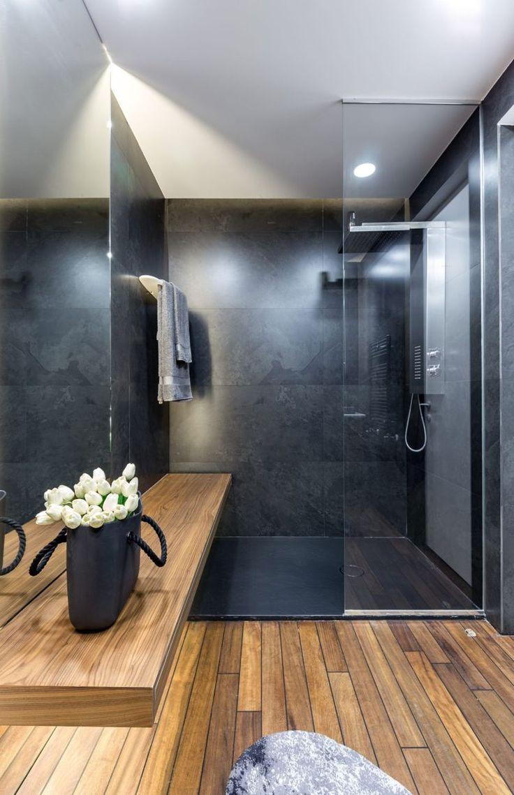 graue einrichtung badezimmer modern holz dusche glaswand  ...