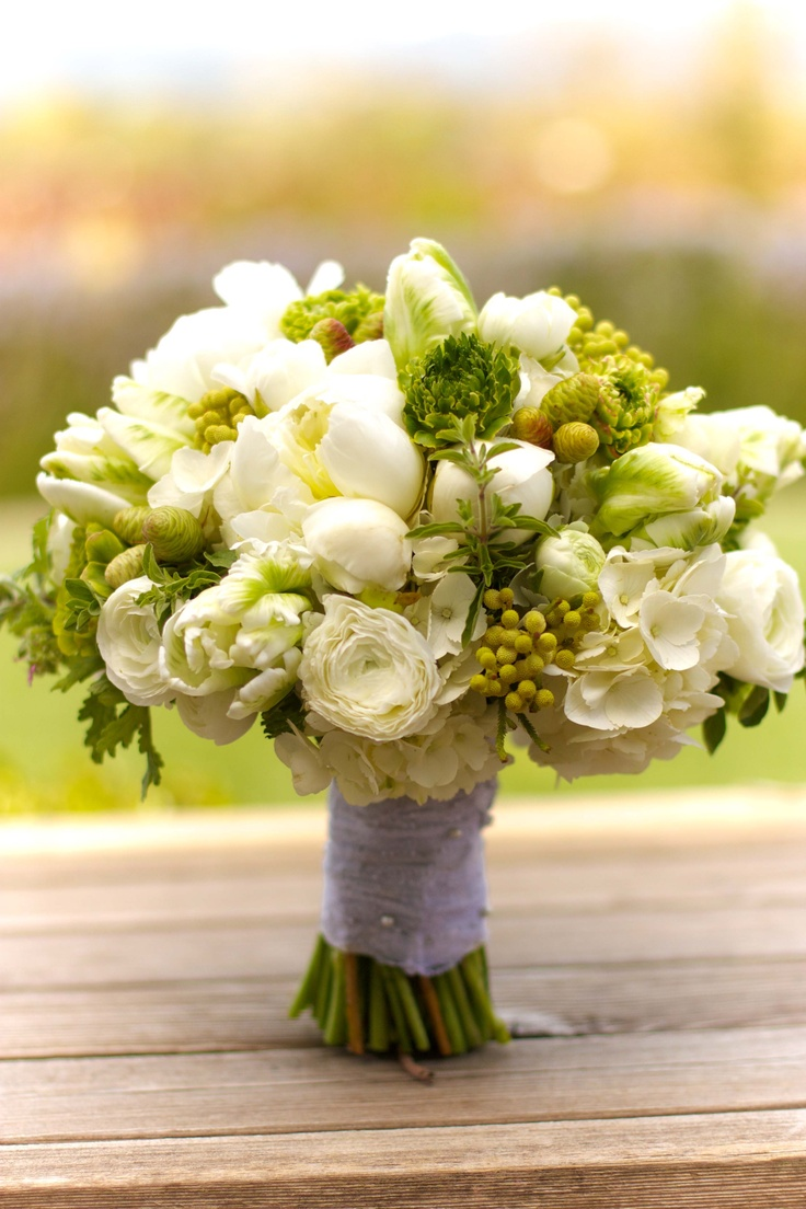 Lovely green and white wedding bouquet.