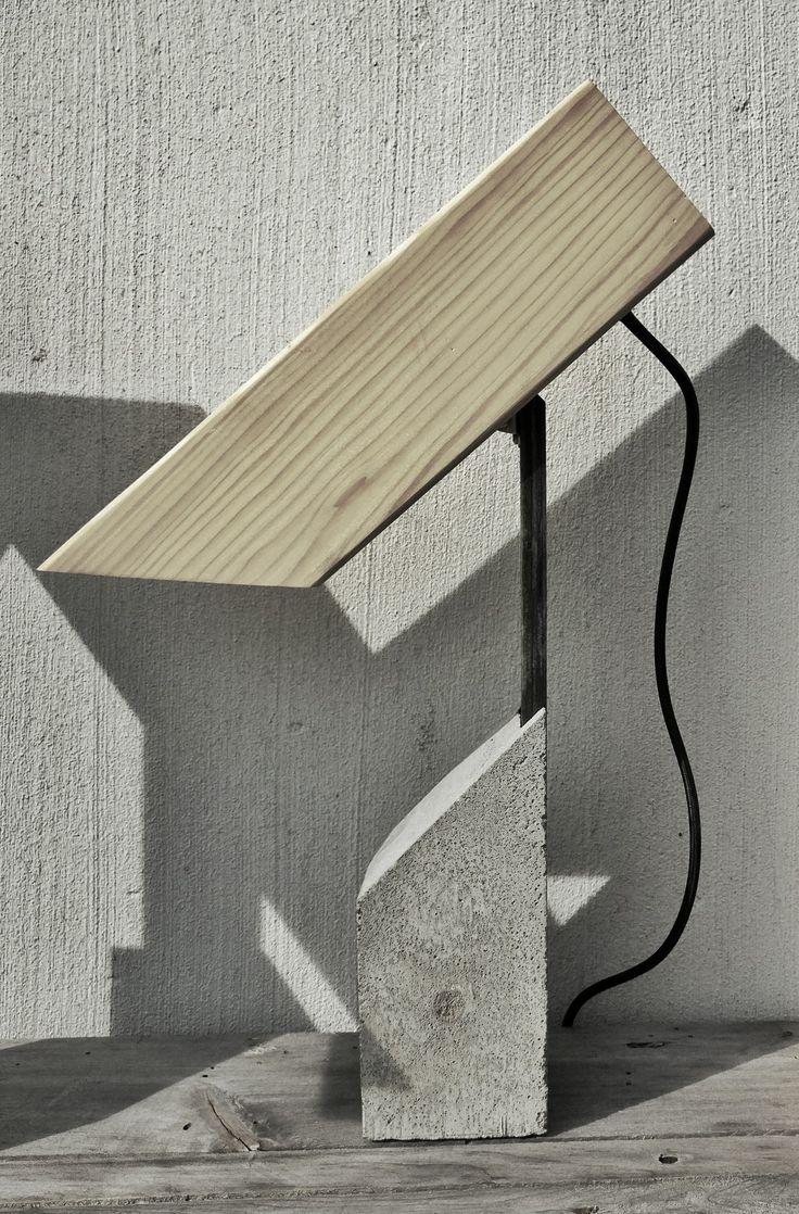 Concrete, Wood, design, interior, lamp, woodlamp