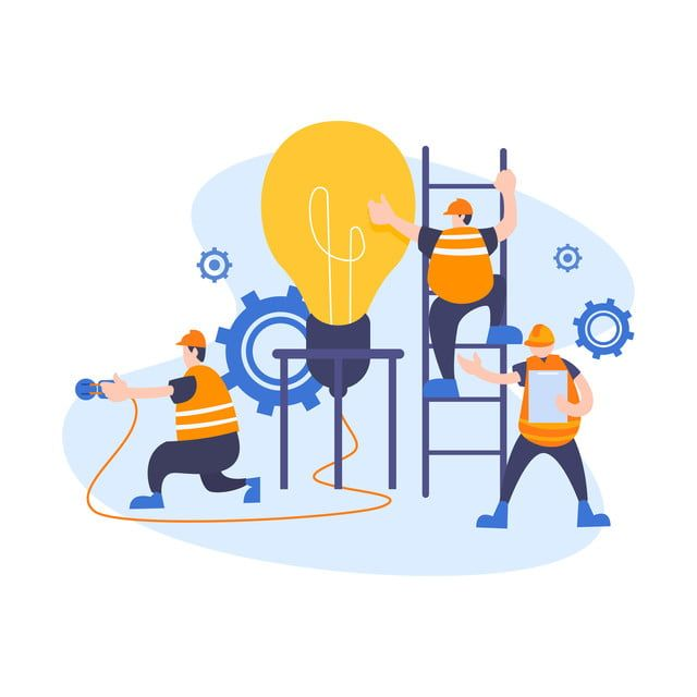 Group Of Young Business People Collaborating Solving Problems Thinking About Creative Idea Brainstorming And Teamwork Concept Engineer Or Worker Flat Style Vect Vector Illustration Illustration Teamwork