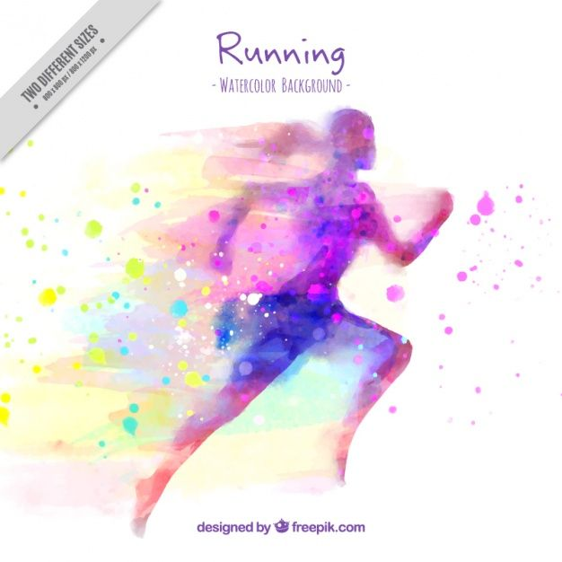Silhouette background of watercolor woman running and splashes Free Vector