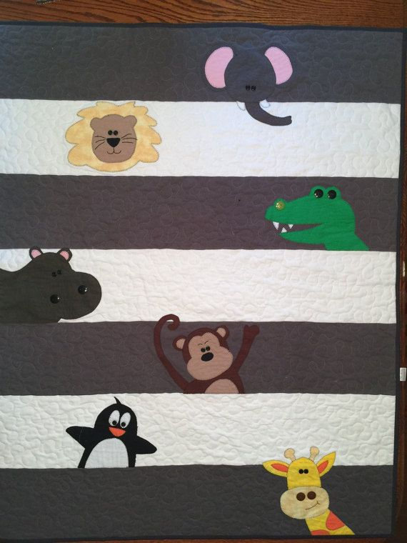 Baby Zoo Animal Quilt Custom Order by KonzaCreative on Etsy
