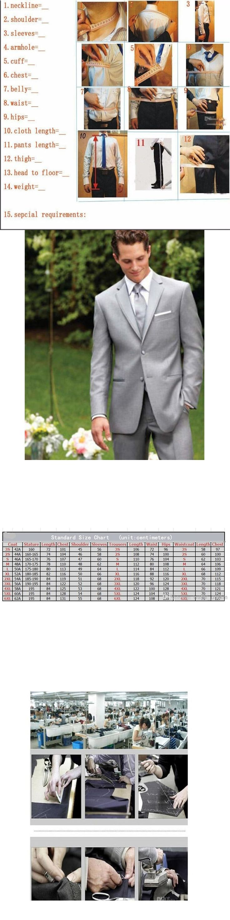 Mens Classic Fit Silver Notch Lapel Two Button Three Piece Suit mens formal wear