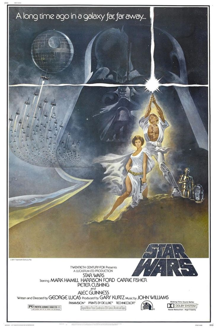 """The first release of the """"Star Wars"""" saga was """"Star Wars Episode IV: A New Hope"""" released in 1977. The film starred Mark Hamill, Harrison Ford, Carrie Fisher, Peter Cushing and Alec Guinness, some of who were depicted on the movie poster. This poster was unique as it was painted by American art director and illustrator Tom Jung."""