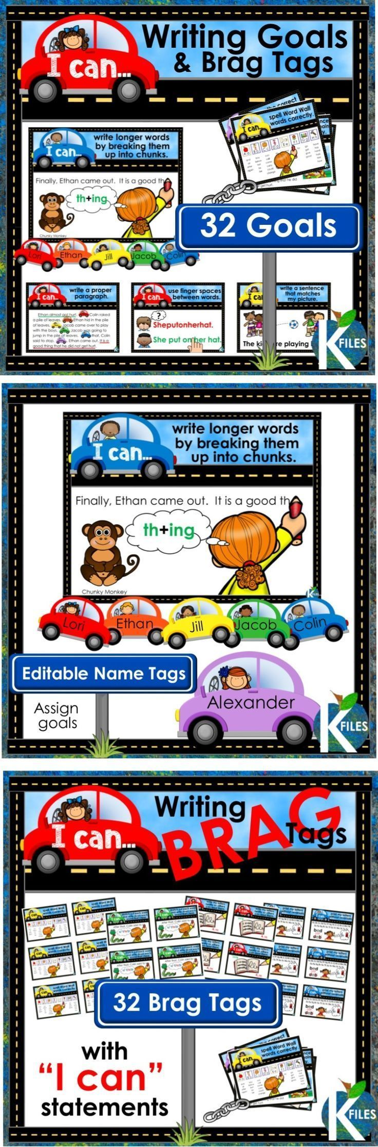 """Hold your students accountable for their learning with this set of 32 Writing Goal Posters with """"I can"""" statements, matching brag tags and name tags to encourage your young authors to stay on the """"write track"""". Display the writing goal posters throughout the year as a visual reminder of what good writer's do. Using Writing goals in your classroom is an effective way to differentiate your instruction during the Daily 5, Writers workshop and literacy centers. TheKausFiles.blogspot.com"""