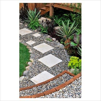 Gap photos garden plant picture library slab - Stepping stones and pebbles ...