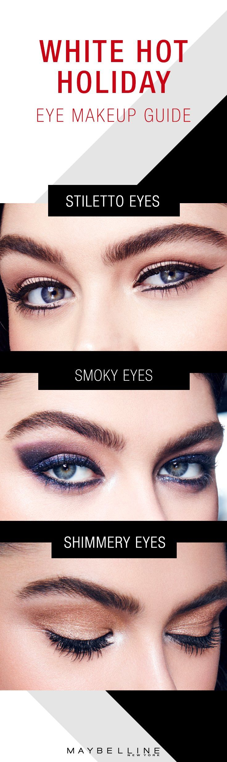 Go from holiday glam to winter hot in a New York minute with these three distinct but equally boss eye looks. Top to bottom: Use Maybelline Master Graphic Eyeliner to slay 'em with a stiletto-inspired eyeliner look. Mesmerize with smoky indigo eyes, courtesy of Maybelline Expert Wear eyeshadow in 'Luminous Lilac'. Go gold and shimmery with Maybelline The Nudes Palette. Or rock all three before the season is done. Xoxo.