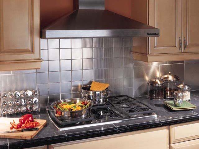 Crossville 39 s stainless steel backsplash mt280 squares 4 x for Kitchen design 8 x 14