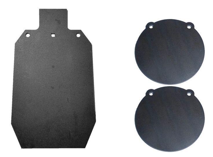 "Tactical Scorpion Gear tsg-gg1220+2-8 AR500 12"" x 20"" IDPA 3/8"" and 2 8"" Steel Shooting Target Gong Laser Cut"