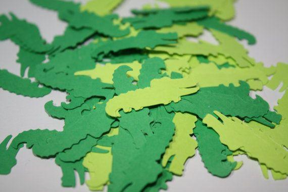 200 pieces Alligator Die Cut Confetti Table Decor  greens