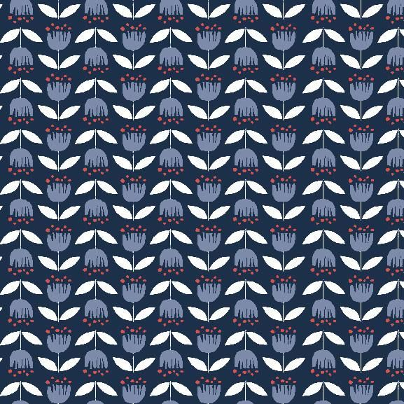 """Naive, stylized tulips in a graphic, Scandinavian style.100% organic cotton poplin, 45"""" wide."""