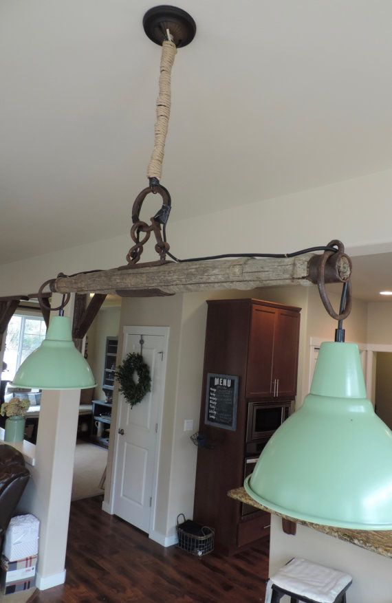 Yoke and mint green vintage inspired barn light by for Rustic barn light fixtures