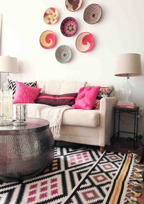 African baskets as wall decor.