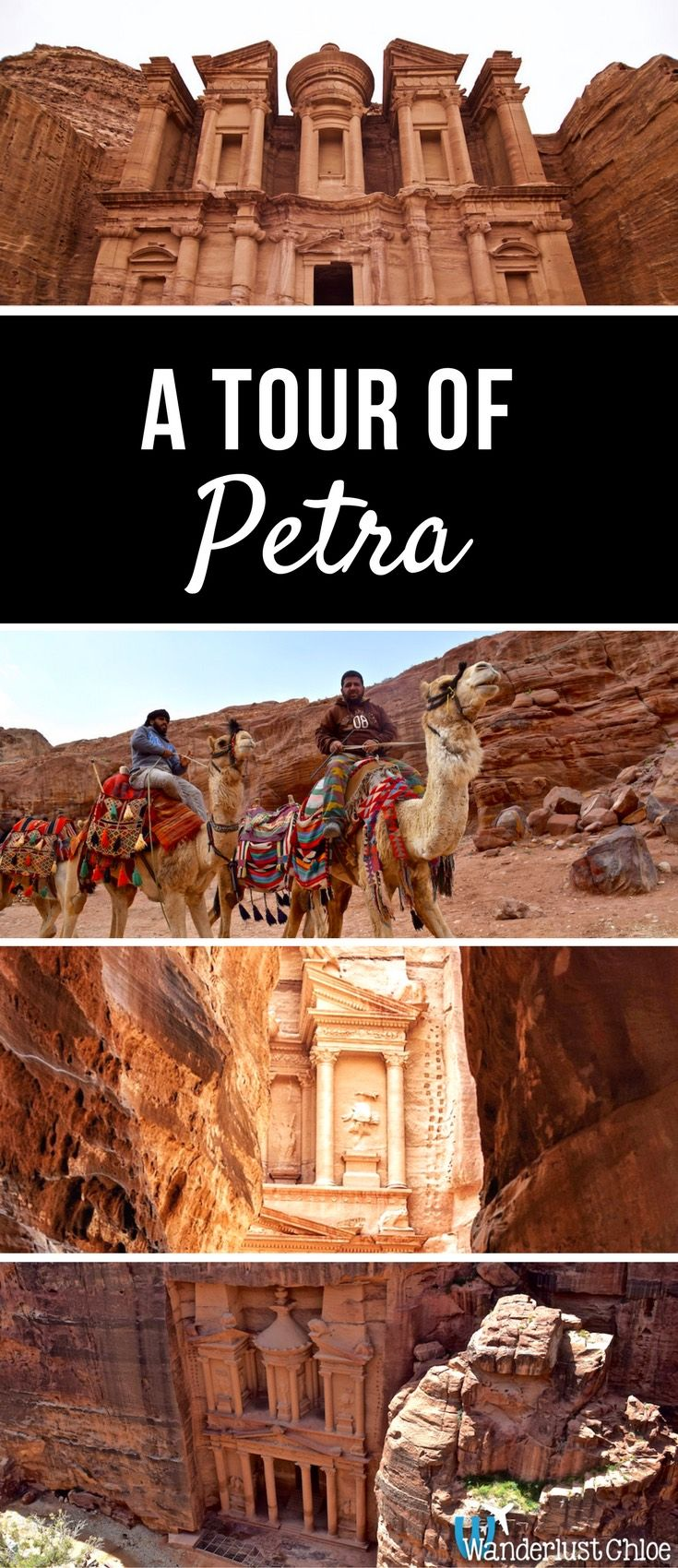 A Tour of Petra, Jordan. From visiting the Treasury to checking out the Monastery and finding the most beautiful viewpoints in Petra, Jordan, here's what to expect from your first visit!  https://www.wanderlustchloe.com/petra-jordan-tour/