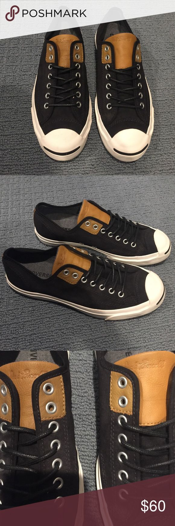 Jack Purcell Converse with Leather Accents This is a very cool pair of black Jack Purcell converse with light taupe accents. Never worn and sure to make any man's wardrobe! Converse Shoes Sneakers