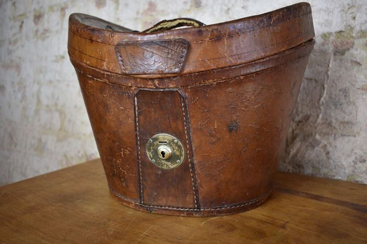 Antique leather Hat Box and Top hat Bays & Son Decorative Vintage Prop