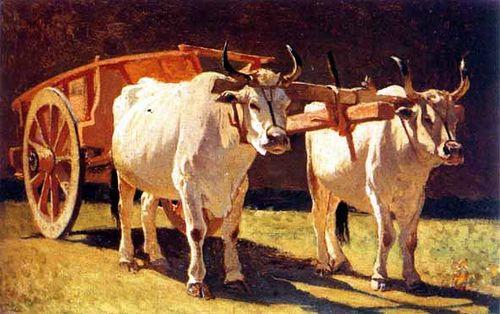 """Abbati, Giuseppe (1836-1868) - Oxen and Cart """"Macchiaioli"""" Painters GIUSEPPE ABBATI (Napoli, 13 gennaio 1836 – Firenze, 21 febbraio 1868) #TuscanyAgriturismoGiratola"""