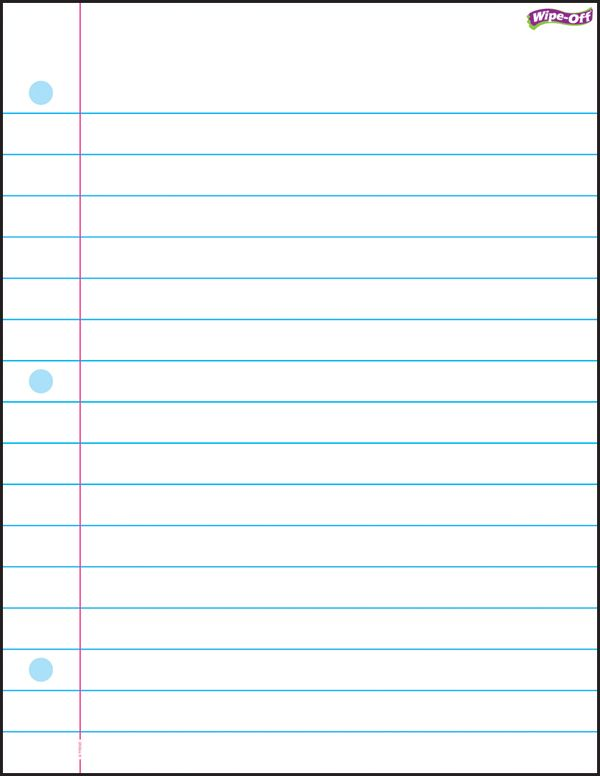This is a graphic of Delicate Wide Ruled Paper Printable