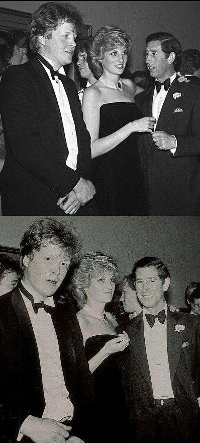 Charles Spencer, Diana, Prince Charles taken at Charles Spencer's 21st party at Mirrabelle restaurant in London, 20 May 1985