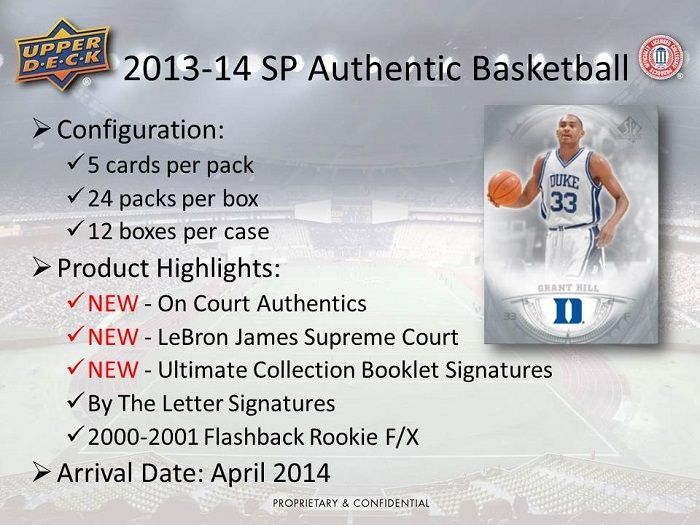 2013-14 Upper Deck SP Authentic Basketball Hobby Box