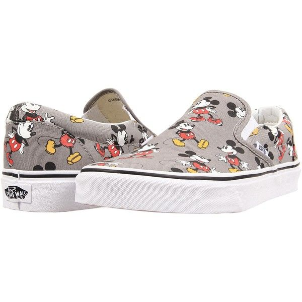 Vans Disney Classic Slip-On Mickey Mouse Frost Gray) Skate Shoes ( 60) ❤  liked on Polyvore featuring shoes 1249a73a4