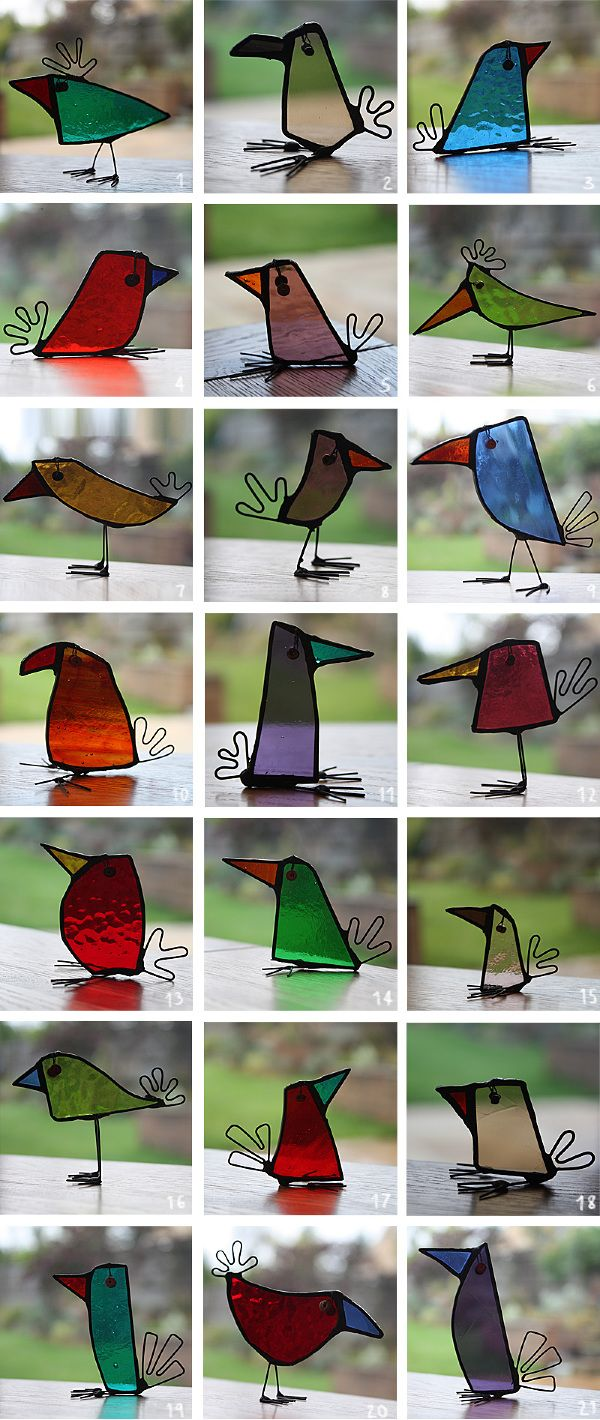 Birds - Glass Art reciclaje de recortes cristal
