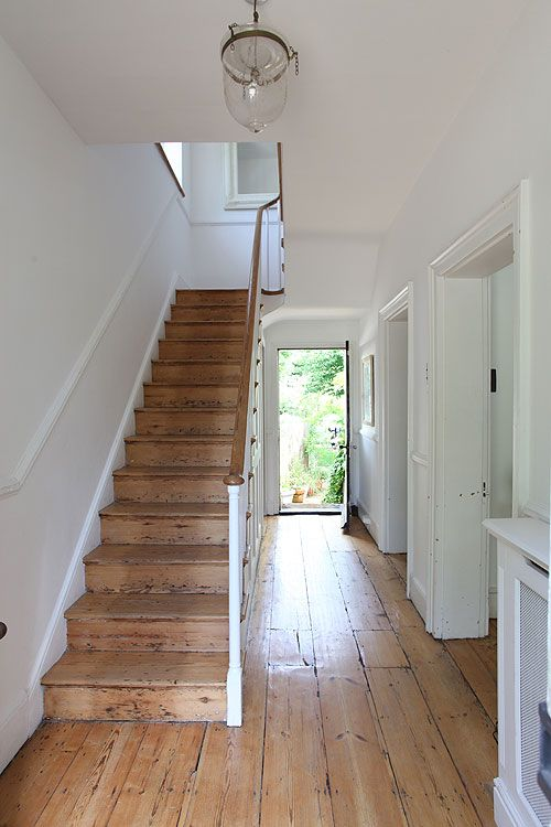 in an ideal world what I would love. a light airy hallway with lots of wood in it, without looking naff