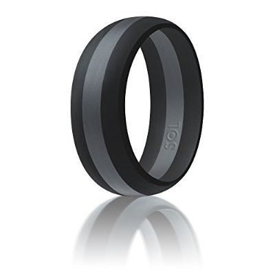 Silicone Wedding Ring By SOL (Action Pro Series), Safe and Sturdy Silicone Rubber Wedding Band Designed for Fitness, Kettlebell and Exercise Bands Workout - Black with Dark Grey, size 8