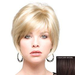 Trendy Fluffy Side Bang Elegant Charming Short Straight Human Hair Women's Capless Wig
