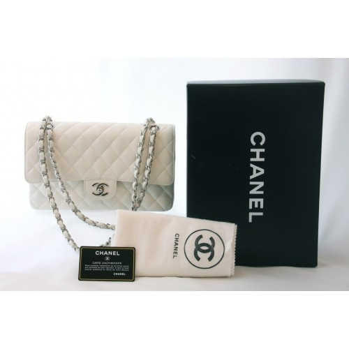 Chanel White Caviar Leather Classic Double Flap Bag.