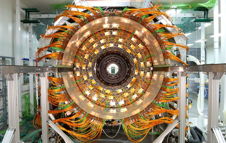 View of the Compact Muon Solenoid (CMS) Tracker Outer Barrel in the cleaning room on January 19, 2007. The CMS is a general-purpose detector, part of the Large hadron Collider (LHC), and is capable of studying many aspects of proton collisions at 14 trillion electronvolts. (Maximilien Brice/© 2012 CERN)