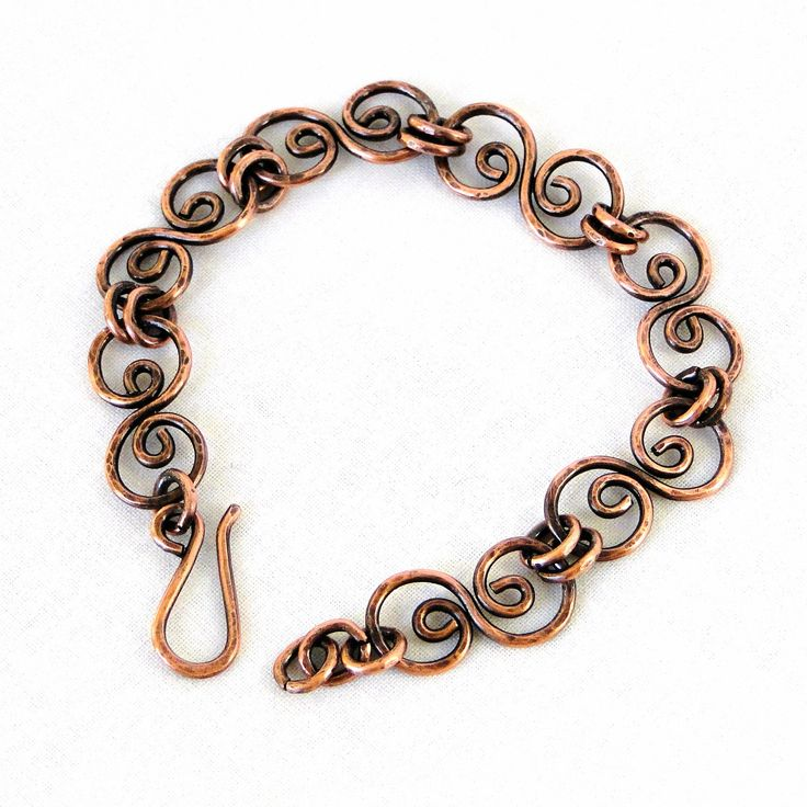 Handcrafted Jewelry, Hammered Copper Bracelet, Antiqued Copper, Scroll Link Bracelet. $58.35, via Etsy.