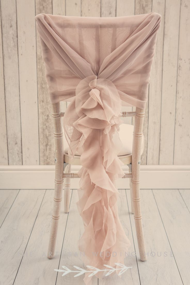 Dusky pink ruffle chair sash Unique wedding décor                                                                                                                                                                                 More