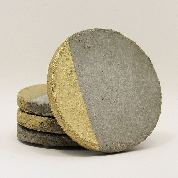Concrete Coasters, Drink Coasters, Modern Coasters, Cement Coasters, Industrial Coasters, Stone Coasters, Unique Coasters, Gold - Set of 4 by TimberlineStudio #coasters #homedecor #decor #concrete #modern
