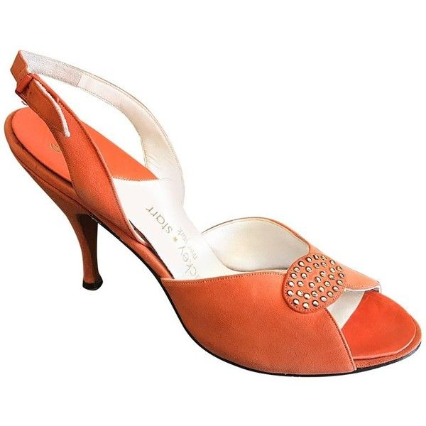 Preowned New 1950s Mackey Starr Size 6n Sorbet Orange Leather... ($575) ❤ liked on Polyvore featuring shoes, sandals, high heels, orange, strappy sandals, high heels sandals, peep toe sandals, strappy high heel sandals and rhinestone high heel sandals