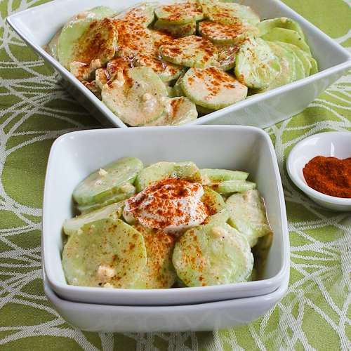 Recipe for Al's Famous Hungarian Cucumber Salad; probably the BEST cucumber salad I've ever made. Try it now while the cucumbers are still good. [from Kalyn's Kitchen] #LowGlycemicRecipe #LowCarbRecipe #GlutenFreeRecipe