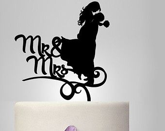 bride and groom silhouette cake topper, monogram cake topper, funny cake topper, wedding cake decoration, custom cake topper wedding