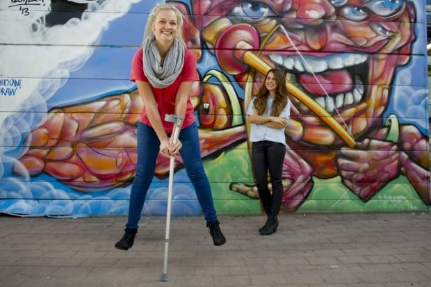 Jemma Mrdak and Emma Carey is walking after Emma was involved in a skydiving accident in Sweden.  Emma is an inspiration to us all.  Emma Carey, Class of '10.
