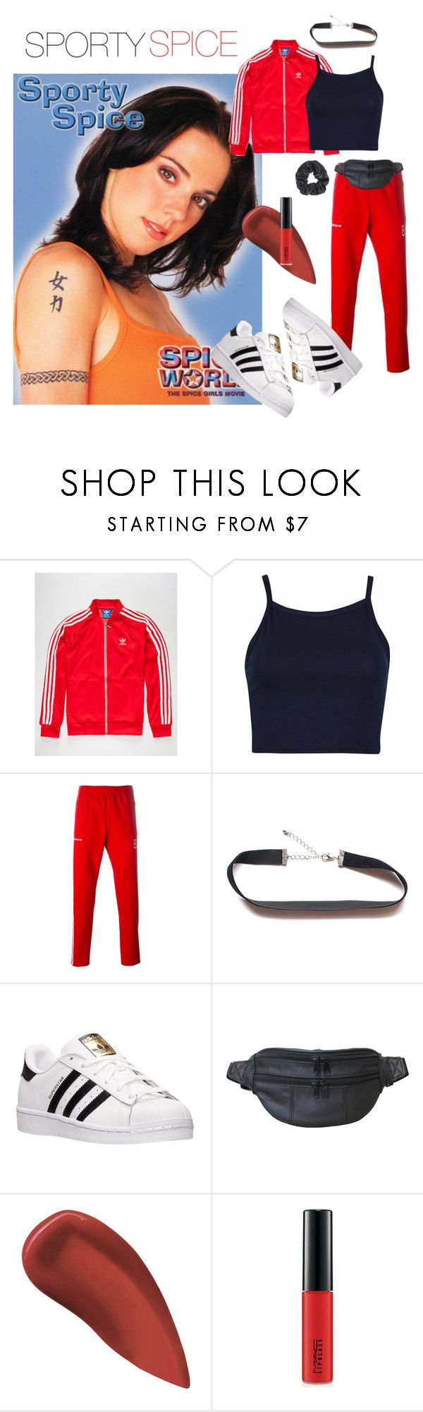 SPORTY SPICE HALLOWEEN COSTUME by a-le-mode on Polyvore featuring adidas, AmeriLeather, adidas Originals, Kevyn Aucoin, MAC Cosmetics and Halloween