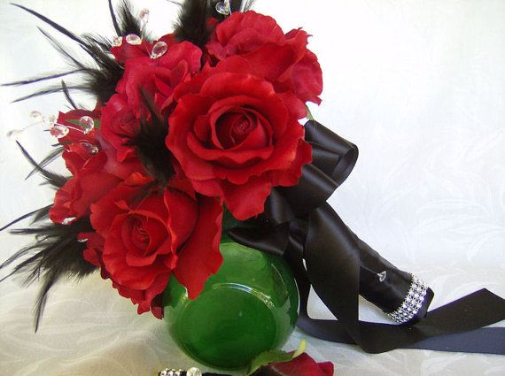 Black Feather And Red Rose Bouquet And Boutonniere Set