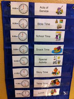 Visual schedules for Toddlers / Pre-Schoolers. Great idea! Love Bible time!  And I love the clock and the pictures