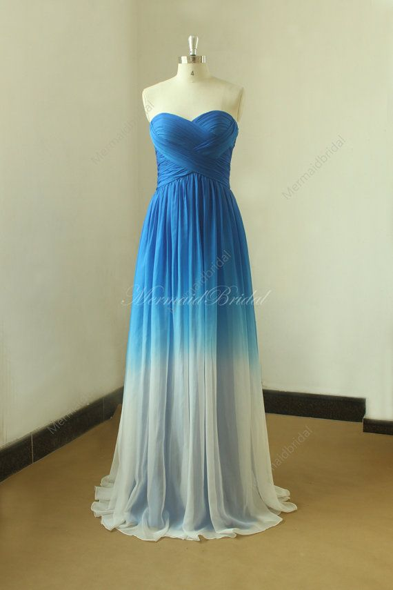Royal blue Ombre weddin dress, from royal blue to ivory color Fabric:Tencel Embellishment: Pleats Straps:Strapless Sleeves: Sleeveless Back: