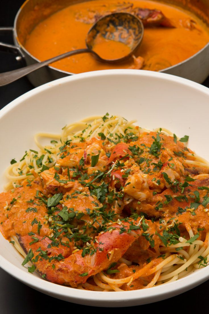 NYT Cooking: This dish is a little fiddly, but it is well worth the effort, and much of the prep can be done ahead. The sauce is rich with the essence of lobster, balanced with a good kick of hot pepper. It needs a good chewy pasta like bucatini or thick spaghetti.