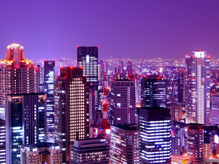 Night view of buildings in Osaka