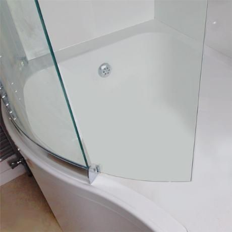 Sommer P-Shaped Shower Bath 1700mm (inc. Sliding Screen and Acrylic Front Panel)