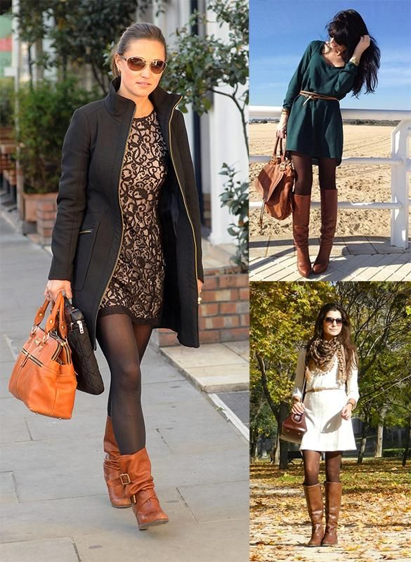 Botas marrones con vestido