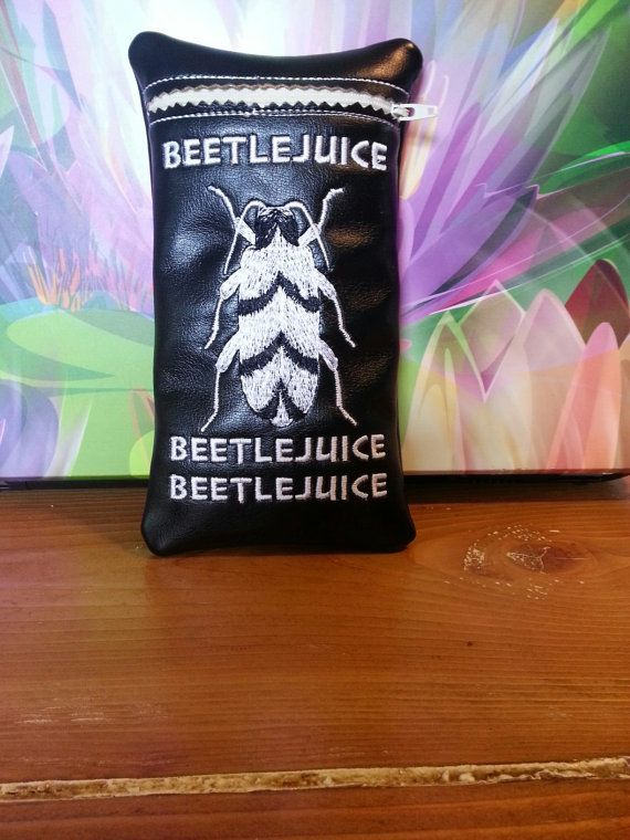 Custom glass pipe pouch. Beetlejuice by RedNeckRagsCreations, $15.00