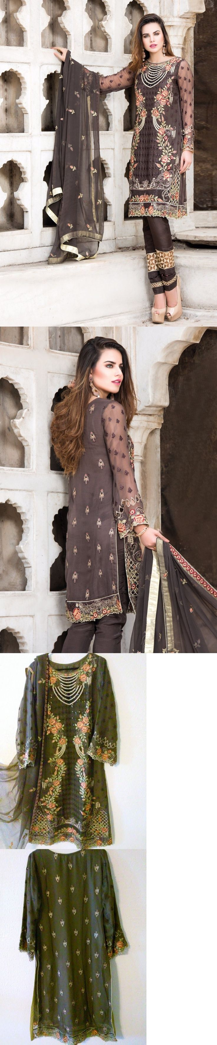 Salwar Kameez 155249: Pakistani Designer Chiffon Stylish Embroidered Outfit Shalwar Kameez Sz S M New -> BUY IT NOW ONLY: $95 on eBay!